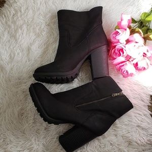 JustFab Suede Chunky Heel Ankle Boot